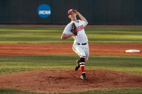Austin Peay Baseball pitcher Nolan Monaghan held Evansville hitless through five innings in Govs 10-2 win, Tuesday. (APSU Sports Information)