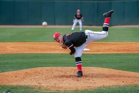 Austin Peay Baseball pitch Jacques Pucheu pitches complete game in Govs 9-1 win over Morehead State Friday at Raymond C. Hand Park. (APSU Sports Information)