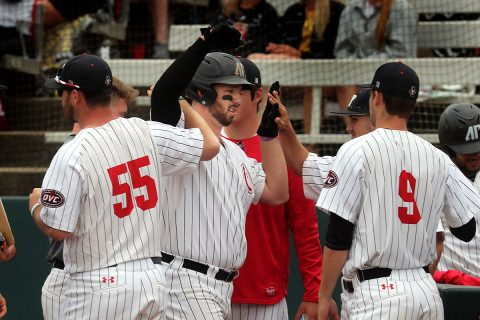 Austin Peay Baseball Junior Parker Phillips went 2 for 3 against SIU Edwardsville with two home runs, two walks and four RBIs. (APSU Sports Information)