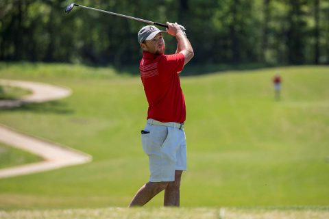 Austin Peay Men's Golf junior Austin Lancaster shoots at 68 to move into third place in the second round of the OVC Tournament. (APSU Sports Information)