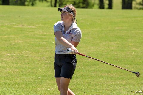 Austin Peay Women's Golf junior Meghann Stamps leads the Govs with a 75 at OVC Championships. (APSU Sports Information)