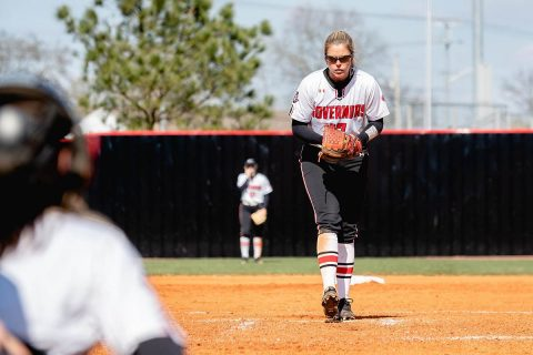 Austin Peay Softball pitcher Kelsey Gross strikes out 5, walks 2, and holds Tennessee Tech scoreless in Govs win in Game 1, Wednesday. (APSU Sports Information)