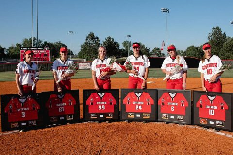 Austin Peay Softball honored seniors (L to R) Carly Mattson, Kacy Acree,Morgan Rackel, Kelly Mardones and Danielle Liermann and Natalie Schilling Sunday. (APSU Sports Information)