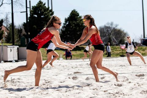 Austin Peay Beach Volleyball pairings (L to R) Cori Theiss and Ginny Gerig win both their games Wednesday against UT Martin. (APSU Sports Information)
