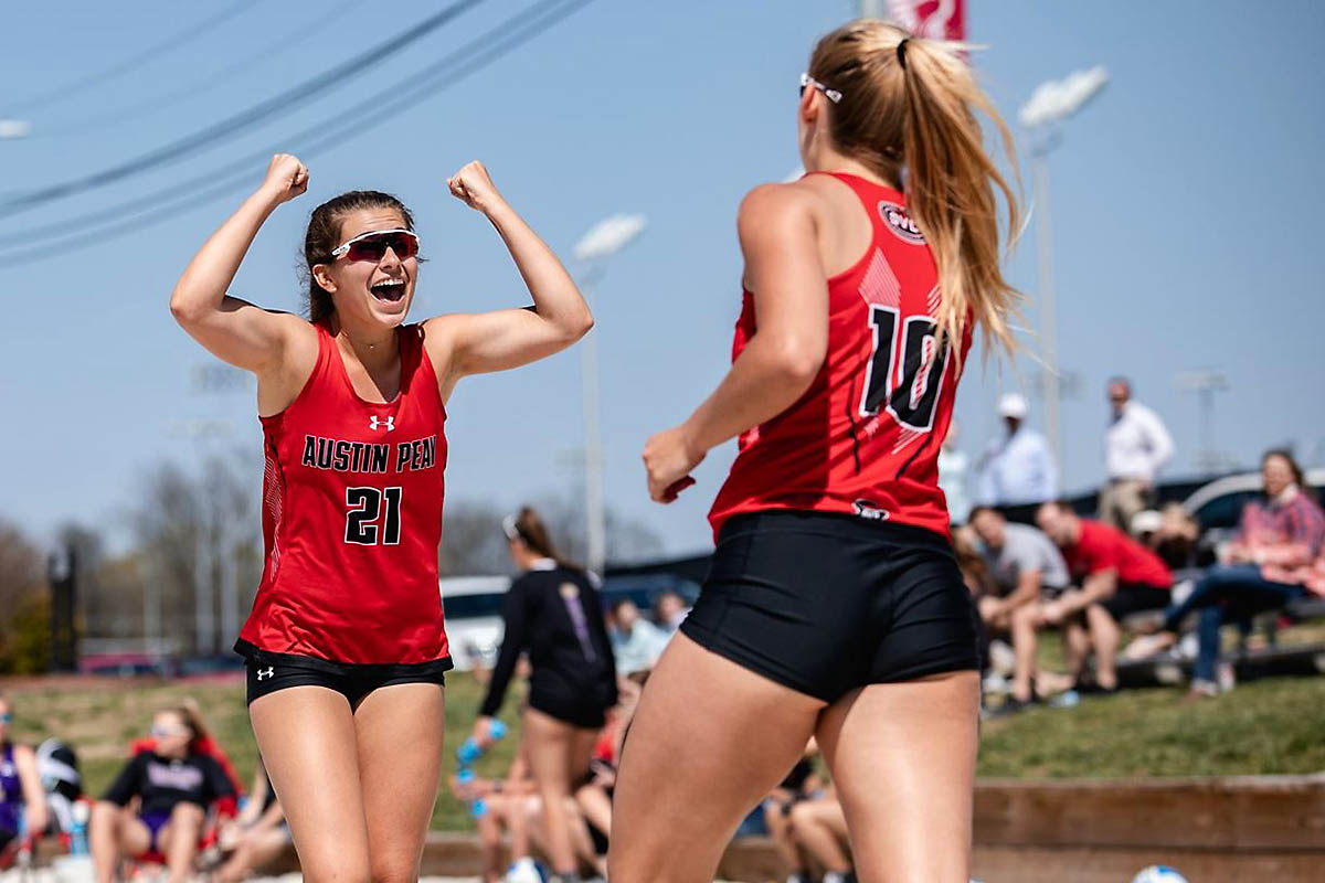 Austin Peay Beach Volleyball No. 1 pairing of Jenna Panning and Haley Turner won in straight sets. (APSU Sports Information)