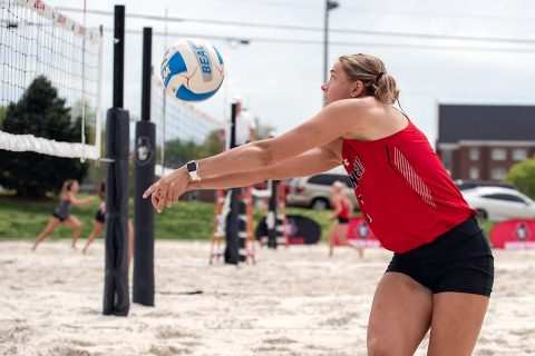 Austin Peay Beach Volleyball sweeps Lincoln Memorial, Carson-Newman Friday afternoon at the Governors Beach Bash. (APSU Sports Information)