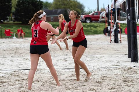 Austin Peay Beach Volleyball beats Eastern Kentucky before losing later to Georgia State at Govs Beach Bash, Saturday. (APSU Sports Information)