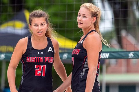 Austin Peay Beach Volleyball falls to Florida Gulf Coast Friday at the ASUN Beach Championship. (Romeo T. Guzman, ASUN)