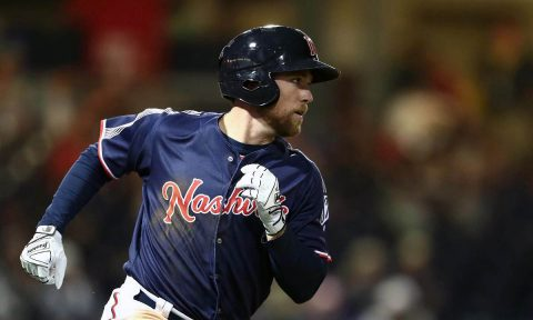 Nashville Sounds' Chase d'Arnaud hits Go-Ahead RBI Double in the Eighth Inning against Omaha Storm Chasers. (Nashville Sounds)