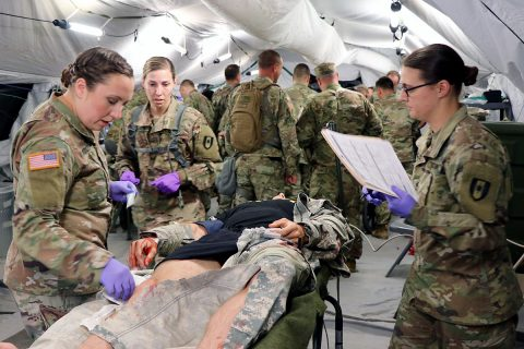 BACH Soldiers joined Soldiers from the Fort Campbell-based 586th Field Hospital for a training exercise, recently, aimed at readiness. A mass casualty drill, featuring role-players with realistic-looking wounds and injuries, tested the unit's ability to respond and triage patients to the appropriate level of care.  (U.S. Army photo by Maria Yager)