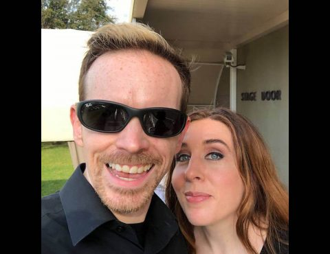 Christopher and Sarah Bailey snap a selfie before they perform with Sarah Brightman.