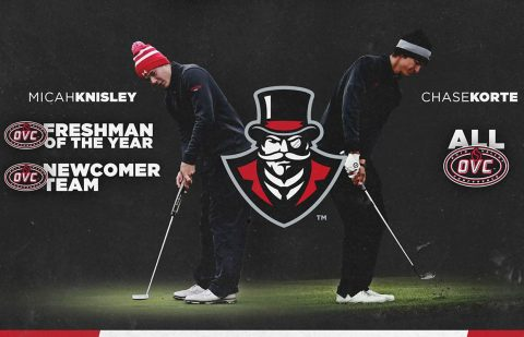 Austin Peay Men's Golf's Micah Knisley named OVC Freshman of the Year, Chase Korte picked All-OVC. (APSU)