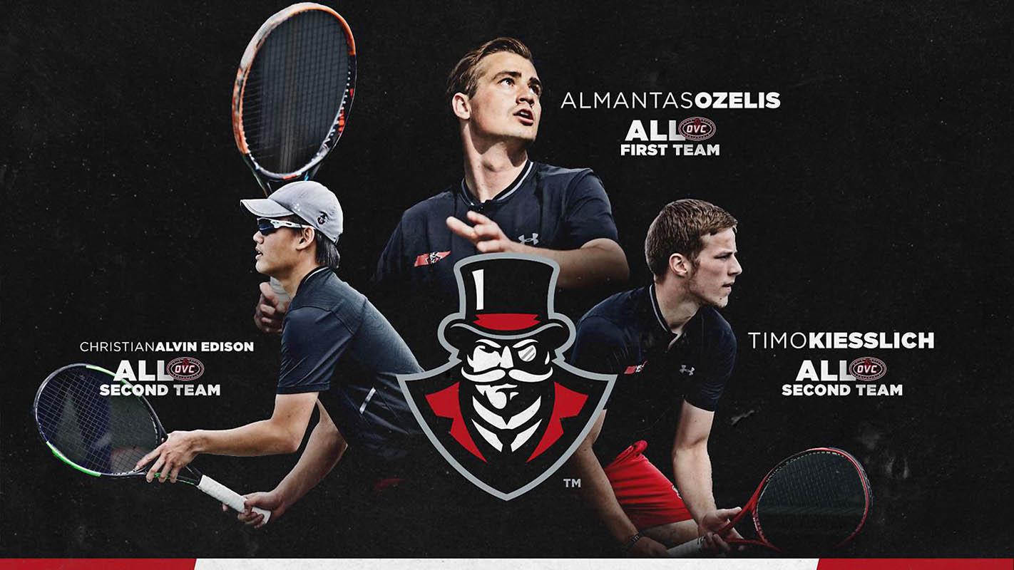 Austin Peay Men's Tennis' Christian Edison, Almants Ozelis, Timo Kiesslich earn All-OVC Honors. (APSU Sports Information)