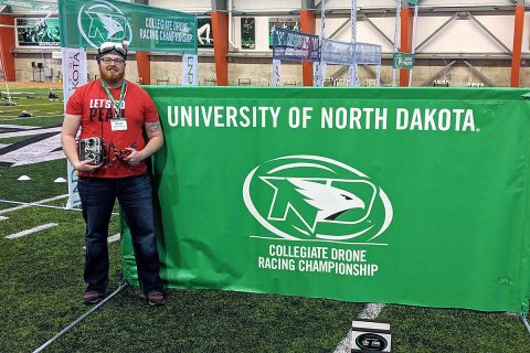 Austin Peay State University's Michael Hunter readies to compete at the Collegiate Drone Racing Association. (APSU)