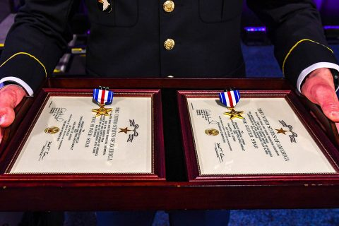 The Silver Star Medal is awarded primarily to members of the United States Armed Forces for gallantry in action against an enemy of the United States. Two Soldiers from Company C, 6th Battalion, 101st Combat Aviation Brigade, 101st Airborne Division (Air Assault) received The Silver Star during a ceremony held at the Army Aviation Association of America Summit 2019 in Nashville, Tennessee April 16th, 2019. (Sgt. Steven Lopez)