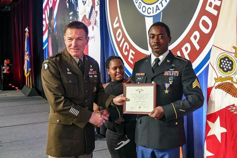 General James McConville, Vice Chief of Staff of the United States Army presents The Silver Star to Sgt. Emmanuel Bynum during a ceremony at the Army Aviation Association of America Summit 2019 in Nashville, Tennessee April 16th, 2019. Bynum, who is assigned to Company C, 6th Battalion, 101st Combat Aviation Brigade, 101st Airborne Division (Air Assault), earned The Silver Star for heroic actions in support of U.S. Army forces in Afghanistan July 12th, 2018. (Sgt. Steven Lopez)