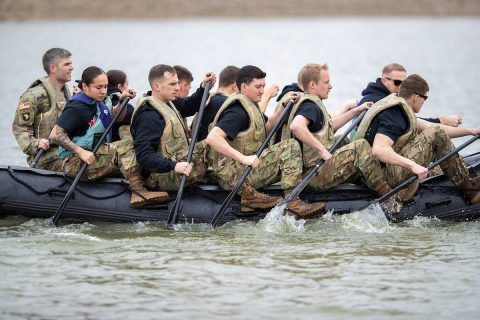 The Austin Peay State University ROTC Ranger Challenge team practices on a Zodiac boat at Liberty Park in Clarksville a week before the Sandhurst competition April 12th-13th at West Point, New York. (Benny Little, APSU)