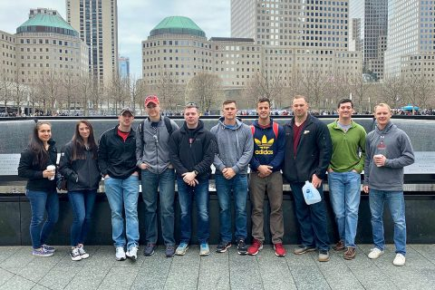 The Austin Peay ROTC Ranger Challenge team cadets competing at the Sandhurst competition visited the 9/11 Memorial in New York City on Thursday.