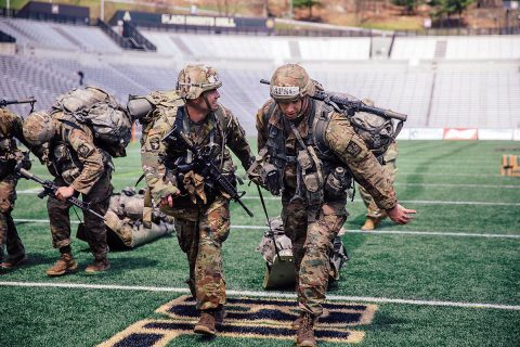 Austin Peay State University ROTC cadets Steven Price and Walt Higbee participate in one of the last challenges of Sandhurst. (Cadet Amanda Lin, U.S. Army)