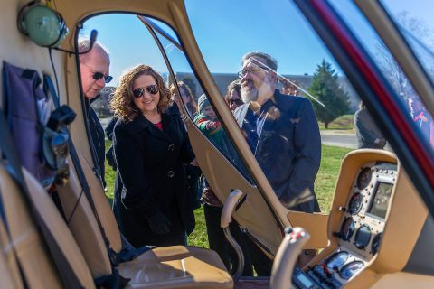 Elliott Herzlich, interim APSU College of STEM dean Dr. Karen Meisch and interim College of Arts and Letters Dean Barry Jones inspect GOV 1. (APSU)