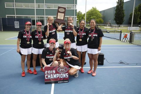 Austin Peay Women's Tennis are the 2019 OVC Tournament Champions. (APSU Sports Information)