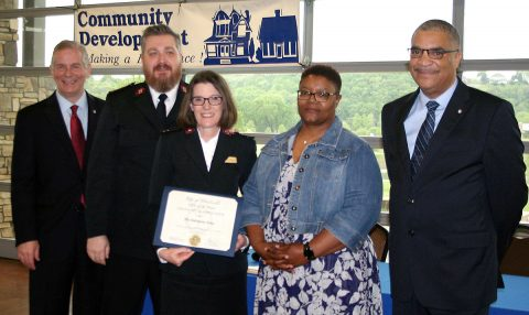 Clarksville Mayor Joe Pitts and Keith Lampkin, director of the Clarksville Office of Housing & Community Development, present a Certificate of Appreciation to the the Salvation Army on Thursday at a breakfast  to honor  Clarksville's service providers who fight homelessness and hunger. Also honored were Urban Ministries; Manna Café; The Salvation Army and Serenity House; Flourishing Families; the Community Action Agency; and the Green Hill Development Corporation.