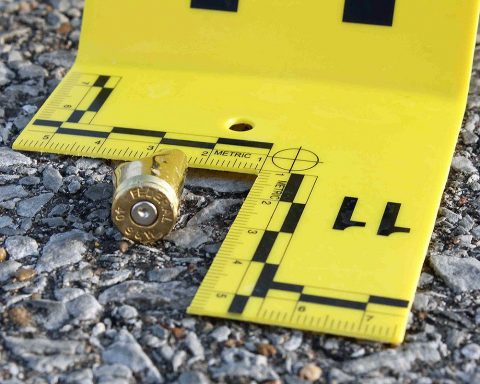 Shell casing at the scene.