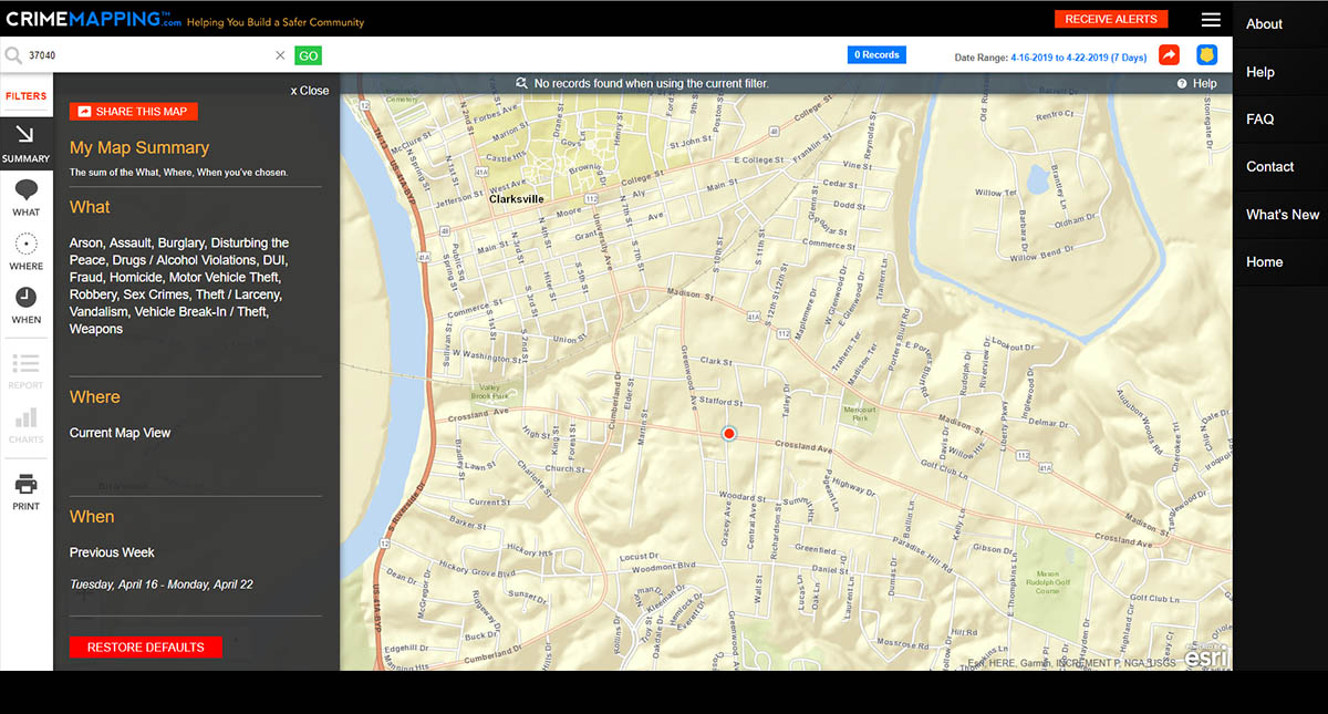 Clarksville Police Department announces CrimeMapping now available
