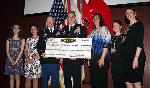 Winners of five eligible volunteer recognition categories present Major Gen. Brian Winski and Command Sgt. Maj. Jason Osborne, 101st Airborne Division (Air Assault) and Fort Campbell, Ky. commanding general and division command sergeant major, respectively, a mock check worth more than $2.5 million during the installation Volunteer of the Year Awards Ceremony in Cole Park Commons, April, 16th. (L to R) The volunteer winners are: Hannah Duncan, Nadine Hopper, Tere Kangas, Nealie DeMott, and Lauren Morris. (Spc. Beverly Roche, 40th Public Affairs Detachment)