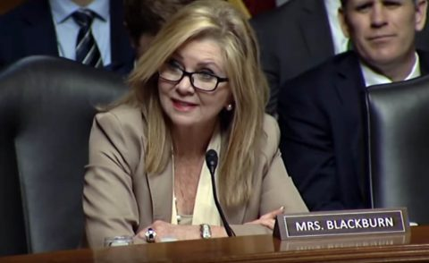 Senator Blackburn at the Senate Judiciary Committee Hearing with Twitter and Facebook.