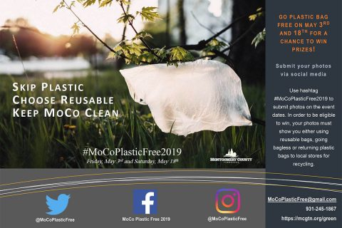 Montgomery County and the Clarksville-Montgomery County Green Certification Program will hold Plastic Free Event at Kroger's, Food Lion and Walmart on Friday, May 3rd.