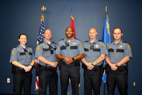 Montgomery County Sheriff's Office graduates (L to R) Camilla Kent, Dennis Morgan, Albert Smith, Ryan Stach and Joshua Wilson.