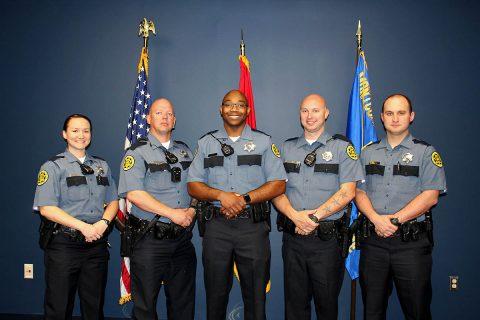 Montgomery County Sheriff's Office graduates (L to R) Camilla Kent, Dennis Morgan, Albert Smith, Ryan Stach and Joshua Wilson.