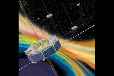 Illustration of the four MMS spacecraft in orbit in Earth's magnetic field. (NASA)