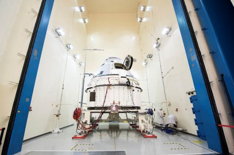 Boeing's Starliner prepares for acoustic testing at Boeing's spacecraft test facilities in El Segundo, California. This vehicle, known as Spacecraft 2, will fly Starliner's Crew Flight Test after it returns to Florida from environmental testing. (Boeing)