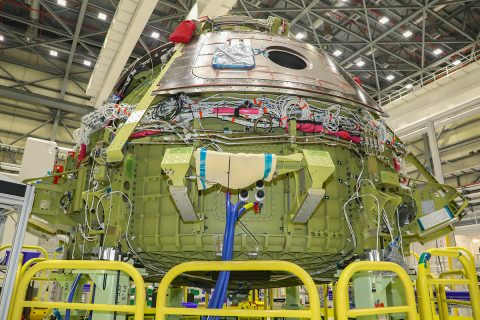 A look at the Starliner that will soon fly the uncrewed Orbital Flight Test soon after the dome mate activities at the Boeing Commercial Crew and Cargo Processing Facility at the Kennedy Space Center. (Boeing)