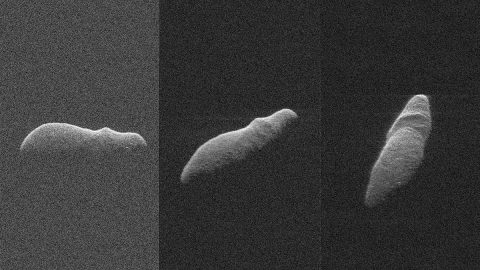 These three radar images of near-Earth asteroid 2003 SD220 were obtained on Dec. 15-17, by coordinating observations with NASA's 230-foot (70-meter) antenna at the Goldstone Deep Space Communications Complex in California and the National Science Foundation's (NSF) 330-foot (100-meter) Green Bank Telescope in West Virginia. (NASA/JPL-Caltech/GSSR/NSF/GBO)