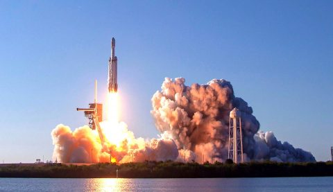 On Thursday, April 11th, a SpaceX Falcon Heavy rocket launched the Arabsat-6A satellite from Launch Complex 39A at NASA's Kennedy Space Center in Florida. (SpaceX)