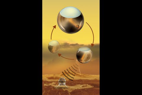 A Venus lander charged by a floating power station is one of the JPL concepts chosen by NASA. (NASA/JPL-Caltech)