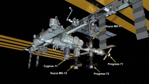 International Space Station Configuration. Five spaceships are docked at the space station including Northrop Grumman's Cygnus space freighter and Russia's Progress 71 and 72 resupply ships and the Soyuz MS-11 and MS-12 crew ships. (NASA)
