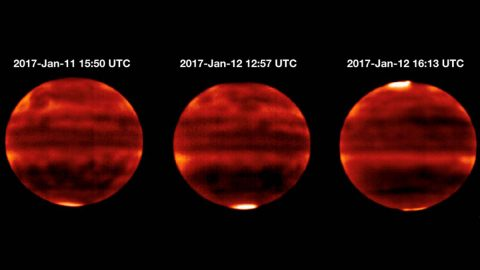 Sensitive to Jupiter's stratospheric temperatures, these infrared images were recorded by the Cooled Mid-Infrared Camera and Spectrograph (COMICS) at the Subaru Telescope on the summit of Mauna Kea, Hawaii. Areas that are more yellow and red indicate the hotter regions. (NAOJ and NASA/JPL-Caltech)