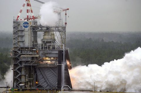 NASA conducts a test of RS-25 flight engine No. 2062 on April 4th on the A-1 Test Stand at Stennis Space Center near Bay St. Louis, MS. The test marked a major milestone in NASA's march forward to Moon missions. All 16 RS-25 engines that will help power the first four flights of NASA's new Space Launch System rocket now have been tested. (NASA/SSC)