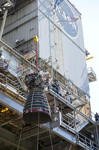 RS-25 flight engine No. 2062 is lifted onto the A-1 Test Stand at NASA's Stennis Space Center near Bay St. Louis, MS. The Aerojet Rocketdyne-built engine was delivered to the stand March 20 and test fired April 4th. (NASA/SSC)