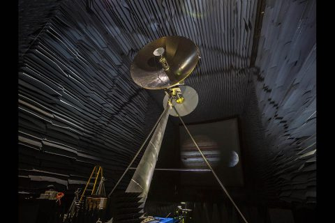 A full-scale prototype of the high-gain antenna on NASA's Europa Clipper spacecraft is undergoing testing in the Experimental Test Range at NASA's Langley Research Center in Hampton, Virginia. (NASA/Langley)