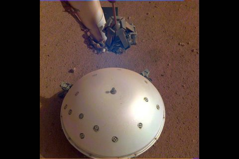 This image of InSight's seismometer was taken on the 110th Martian day, or sol, of the mission. The seismometer is called Seismic Experiment for Interior Structure, or SEIS. (NASA/JPL-Caltech)