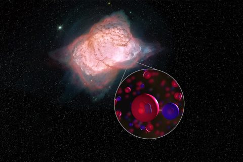 Illustration of planetary nebula NGC 7027 and helium hydride molecules. In this planetary nebula, SOFIA detected helium hydride, a combination of helium (red) and hydrogen (blue), which was the first type of molecule to ever form in the early universe. This is the first time helium hydride has been found in the modern universe. (NASA/SOFIA/L. Proudfit/D.Rutter)