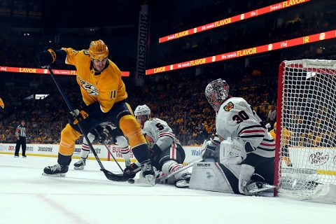 Chicago Blackhawks goaltender Cam Ward (30) and Chicago Blackhawks defenseman Connor Murphy (5) defend a shot attempt from Nashville Predators center Brian Boyle (11) during the second period at Bridgestone Arena. (Christopher Hanewinckel-USA TODAY Sports)