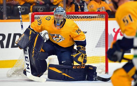 Nashville Predators goaltender Pekka Rinne (35) after a save during the first period against the Dallas Stars in game one of the first round of the 2019 Stanley Cup Playoffs at Bridgestone Arena. (Christopher Hanewinckel-USA TODAY Sports)