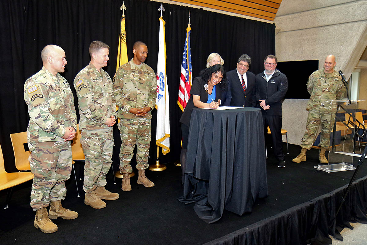 Dr. Padma Raghavan, the Vice Provost for research for Vanderbilt University, signs the Educational Partnership Agreement between Army Futures Command and Vanderbilt April 9th in Nashville. The agreement, the first of its kind since AFC was established in 2018, was overseen by Command Sgt. Maj. Michael Crosby, the senior enlisted advisor for AFC, and Col. John Cogbill, commander of 3rd Brigade Combat Team, 101st Airborne Division (Air Assault). (Staff Sgt. Cody Harding, 3rd BCT Public Affairs)