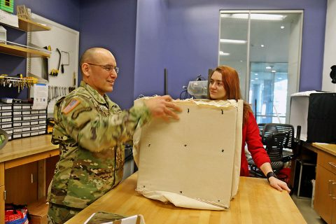 Command Sgt. Maj. Alvaro Pertuz, the senior enlisted advisor for 3rd Brigade Combat Team, 101st Airborne Division (Air Assault) looks at a prototype for a portable fighting position during a tour of the Vanderbilt University Wond'ry after the signing of the Educational Partnership Agreement between Army Futures Command and Vanderbilt April 9th. (Staff Sgt. Cody Harding, 3rd BCT Public Affairs)